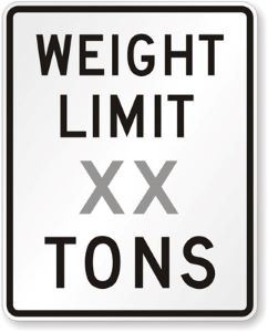Load Restriction sign showing weight limitations