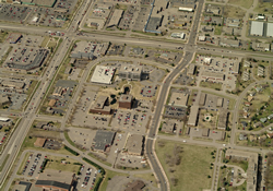 aerial view of commercial are in downtown
