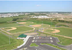 athletic complex ballfields from aerial view
