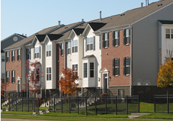 Row of townhomes in fall